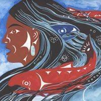 Native American artwork of woman, fish, water